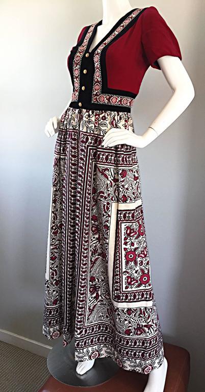 Rare 1970s Jay Morley for Fern Violette Velvet + Cotton Ethnic Tribal Boho Dress 7