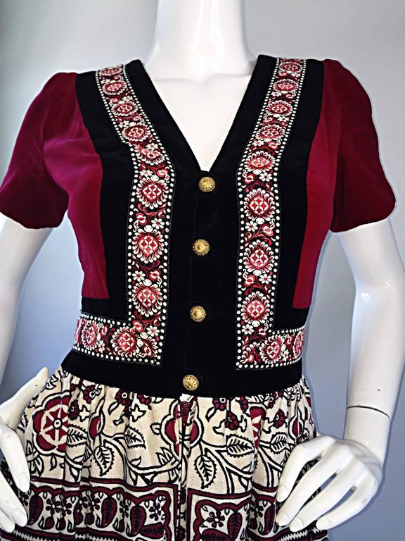 Rare 1970s Jay Morley for Fern Violette Velvet + Cotton Ethnic Tribal Boho Dress 3
