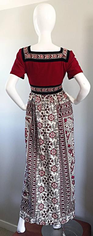 Rare 1970s Jay Morley for Fern Violette Velvet + Cotton Ethnic Tribal Boho Dress 8