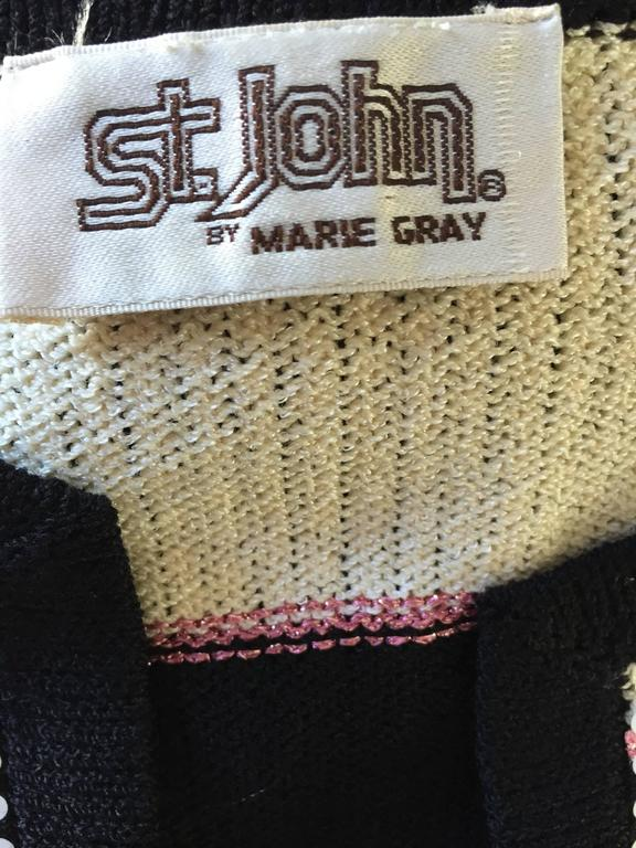 Vintage St. John by Marie Gray black + White + Pink Sequin Plaid Knit Cardigan  10