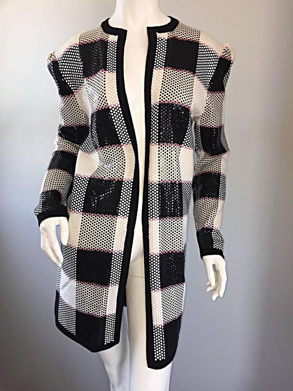 Vintage St. John by Marie Gray black + White + Pink Sequin Plaid Knit Cardigan  9