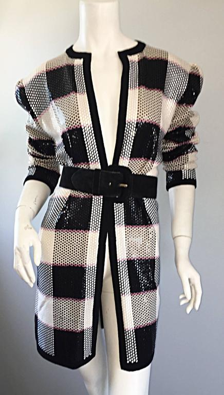 Vintage St. John by Marie Gray black + White + Pink Sequin Plaid Knit Cardigan  4