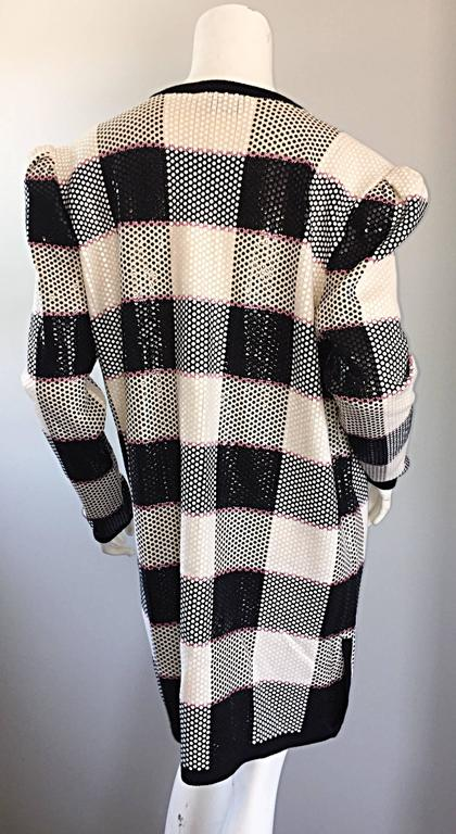 Vintage St. John by Marie Gray black + White + Pink Sequin Plaid Knit Cardigan  7