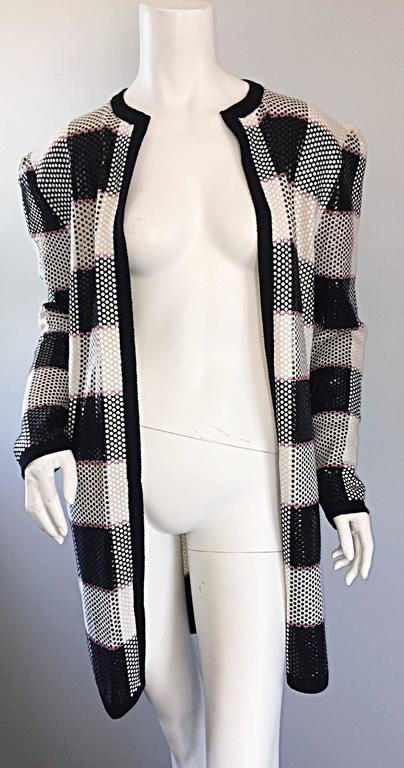 Vintage St. John by Marie Gray black + White + Pink Sequin Plaid Knit Cardigan  6