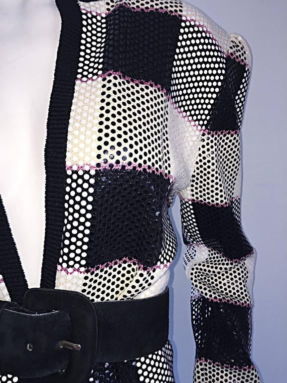Vintage St. John by Marie Gray black + White + Pink Sequin Plaid Knit Cardigan  5