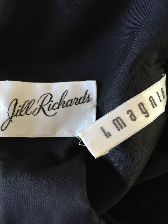 Jill Richards for I. Magnin Black Silk Plisse One Shoulder Rhinestone Gown Dress For Sale 6