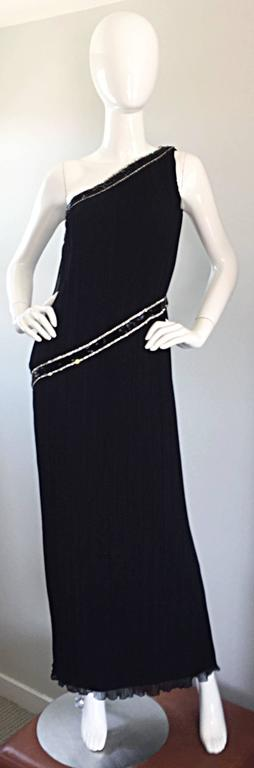 Beautiful vintage Late 1970s / 70s JILL RICHARDS for I. MAGNIN black chiffon silk plisse pleated one-shoulder floor length Grecian toga gown! Adorned with hundreds of hand sewn black beads and rhinestones at collar and waist. Such a flattering