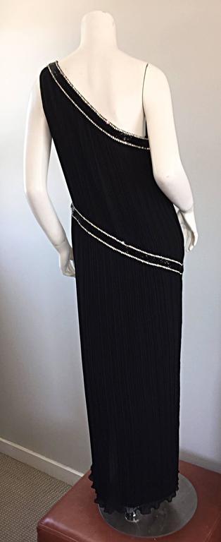 Jill Richards for I. Magnin Black Silk Plisse One Shoulder Rhinestone Gown Dress For Sale 3