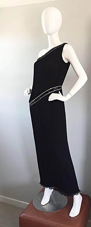 Jill Richards for I. Magnin Black Silk Plisse One Shoulder Rhinestone Gown Dress For Sale 1