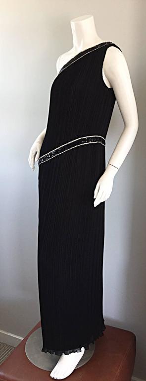 Jill Richards for I. Magnin Black Silk Plisse One Shoulder Rhinestone Gown Dress For Sale 5