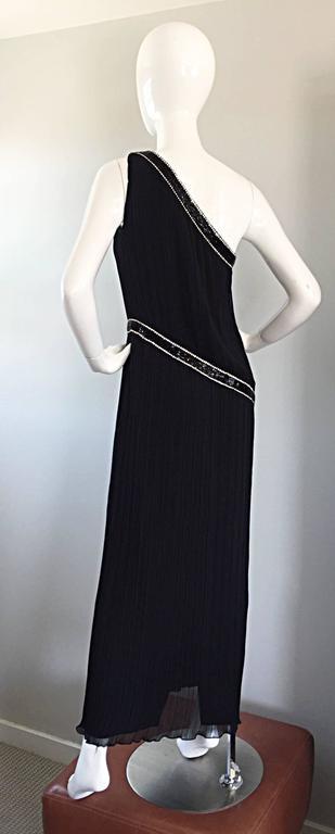 Jill Richards for I. Magnin Black Silk Plisse One Shoulder Rhinestone Gown Dress For Sale 4