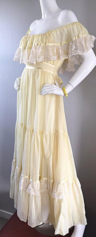 Women's 1970s Vintage Yellow Cotton Voile + Lace Off - Shoulder Peasant Boho Maxi Dress For Sale