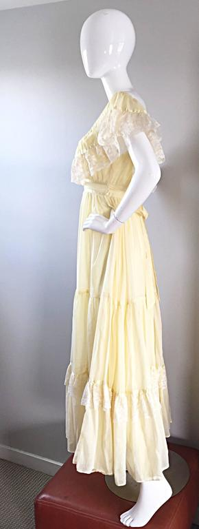 1970s Vintage Yellow Cotton Voile + Lace Off - Shoulder Peasant Boho Maxi Dress For Sale 2