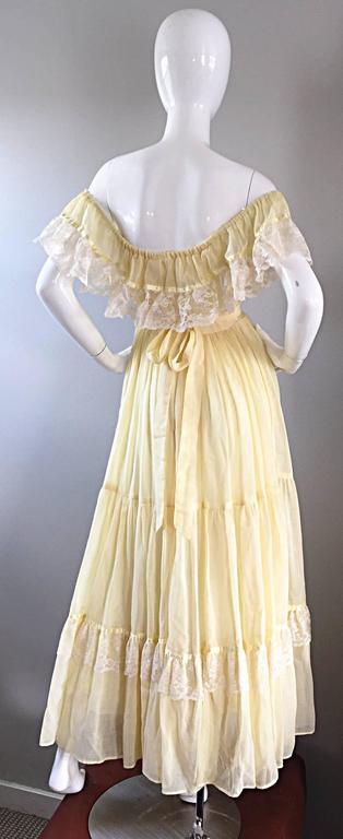 1970s Vintage Yellow Cotton Voile + Lace Off - Shoulder Peasant Boho Maxi Dress For Sale 4