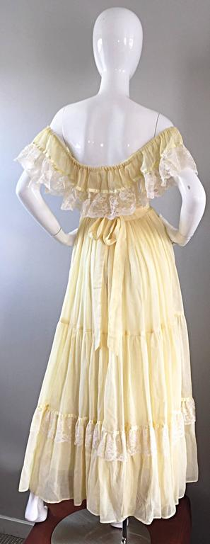 1970s Vintage Yellow Cotton Voile + Lace Off - Shoulder Peasant Boho Maxi Dress In Excellent Condition For Sale In San Francisco, CA