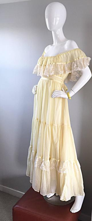 1970s Vintage Yellow Cotton Voile + Lace Off - Shoulder Peasant Boho Maxi Dress For Sale 3