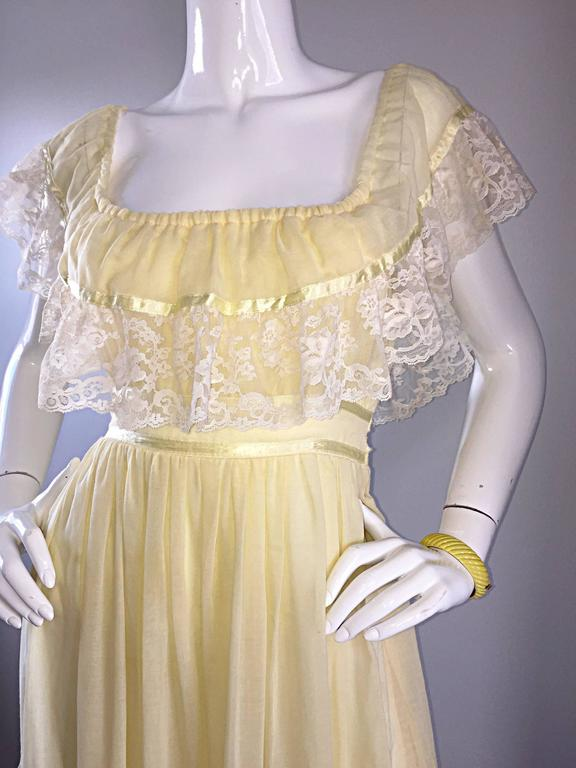 1970s Vintage Yellow Cotton Voile + Lace Off - Shoulder Peasant Boho Maxi Dress For Sale 1