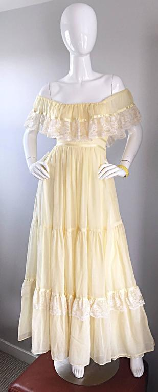 1970s Vintage Yellow Cotton Voile + Lace Off - Shoulder Peasant Boho Maxi Dress For Sale 5