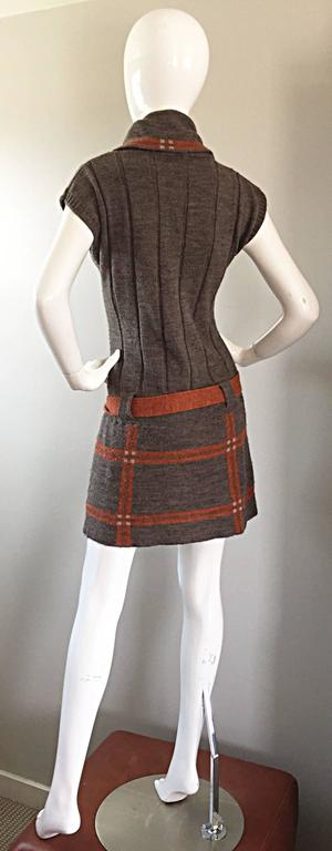 Vintage Cocogio Brown + Grey + Orange Cowl Neck Belted Plaid Sweater Dress In Excellent Condition For Sale In San Francisco, CA