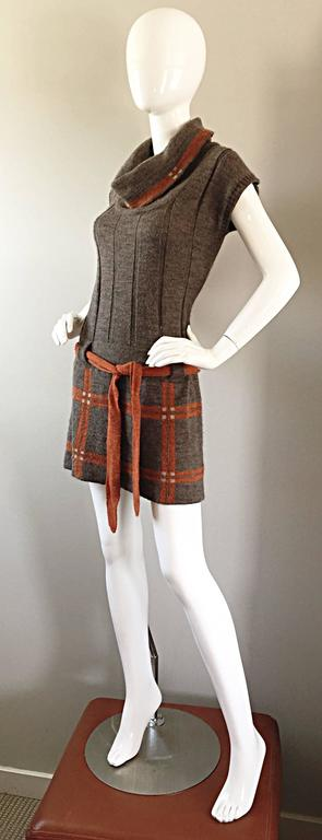 Women's Vintage Cocogio Brown + Grey + Orange Cowl Neck Belted Plaid Sweater Dress For Sale
