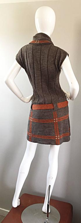 Vintage Cocogio Brown + Grey + Orange Cowl Neck Belted Plaid Sweater Dress For Sale 2