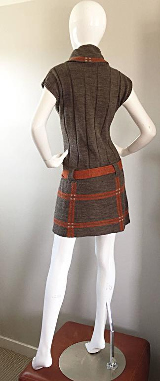 Vintage Cocogio Brown + Grey + Orange Cowl Neck Belted Plaid Sweater Dress For Sale 4