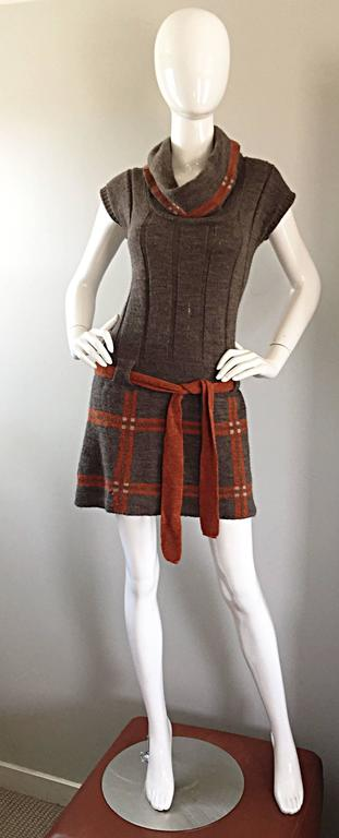 Vintage Cocogio Brown + Grey + Orange Cowl Neck Belted Plaid Sweater Dress For Sale 5
