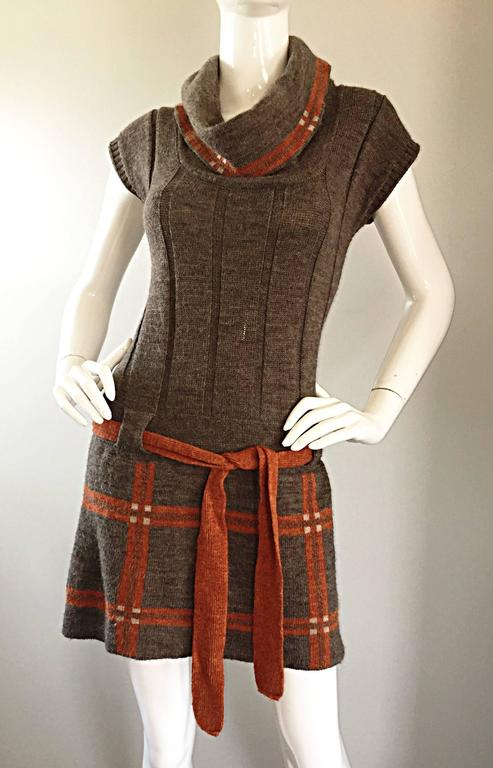 Vintage Cocogio Brown + Grey + Orange Cowl Neck Belted Plaid Sweater Dress For Sale 1