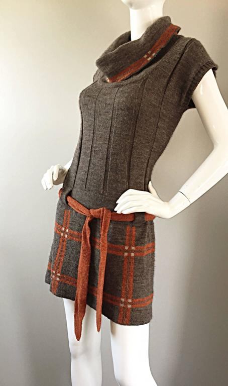 Vintage Cocogio Brown + Grey + Orange Cowl Neck Belted Plaid Sweater Dress For Sale 3