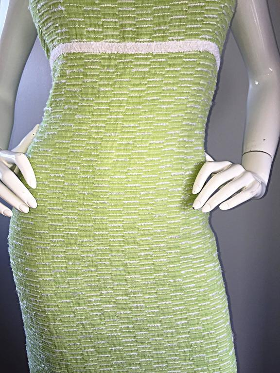 Escada Margaretha Ley Late 1990s Light Green White Boucle