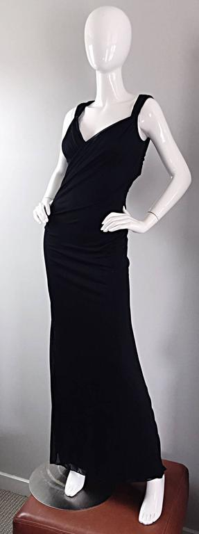 Richard Tyler Couture Vintage Black Jersey Beaded Cut - Out Back Sexy Gown Dress For Sale 5