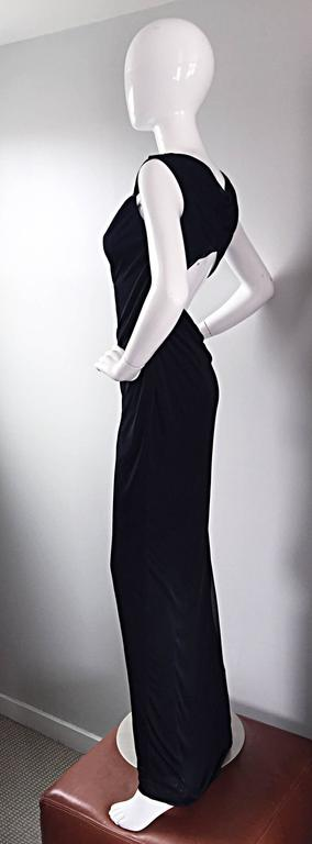 Women's Richard Tyler Couture Vintage Black Jersey Beaded Cut - Out Back Sexy Gown Dress For Sale