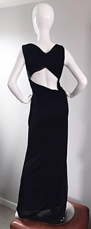 Richard Tyler Couture Vintage Black Jersey Beaded Cut - Out Back Sexy Gown Dress For Sale 3