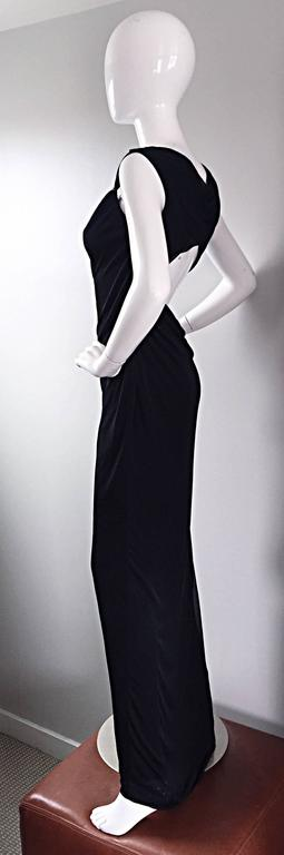 Richard Tyler Couture Vintage Black Jersey Beaded Cut - Out Back Sexy Gown Dress For Sale 4