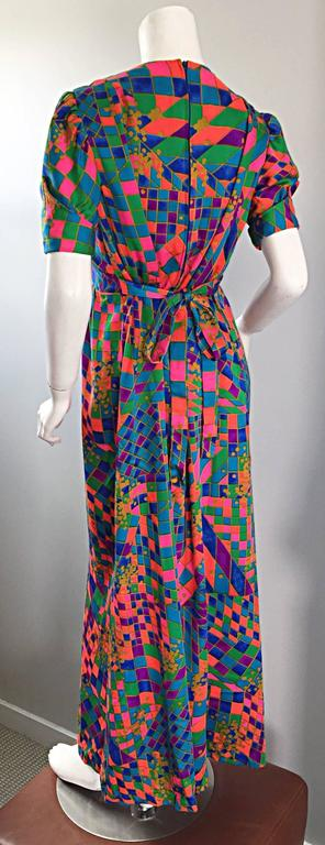 Rare 1970s ' Dear ' Designer Colorful Abstract Geometric Op - Art 70s Maxi Dress For Sale 2