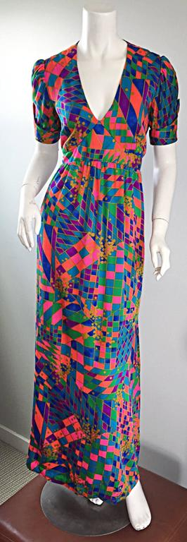 Rare 1970s ' Dear ' Designer Colorful Abstract Geometric Op - Art 70s Maxi Dress For Sale 4