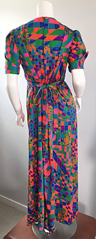 Rare 1970s ' Dear ' Designer Colorful Abstract Geometric Op - Art 70s Maxi Dress For Sale 1