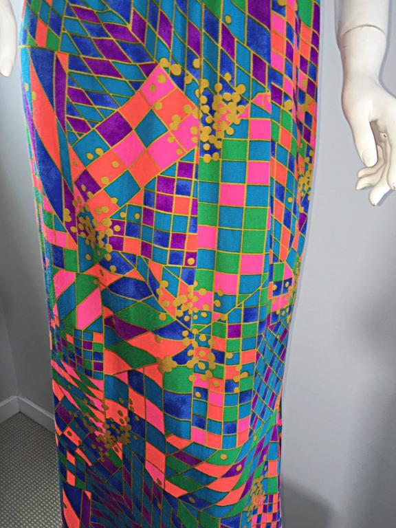 Women's Rare 1970s ' Dear ' Designer Colorful Abstract Geometric Op - Art 70s Maxi Dress For Sale