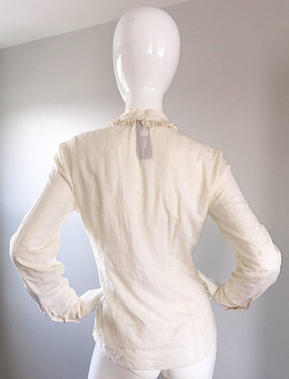 Women's Alexander McQueen NWT Lightweight Cotton Ivory Crochet Pussycat Bow Blouse For Sale