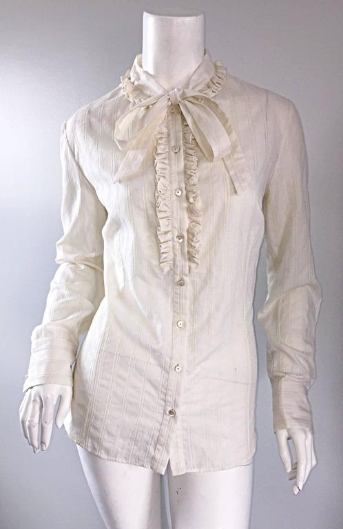 Gray Alexander McQueen NWT Lightweight Cotton Ivory Crochet Pussycat Bow Blouse For Sale