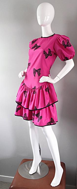 Rare 80s Betsey Johnson Punk Label Hot Pink Black Bow