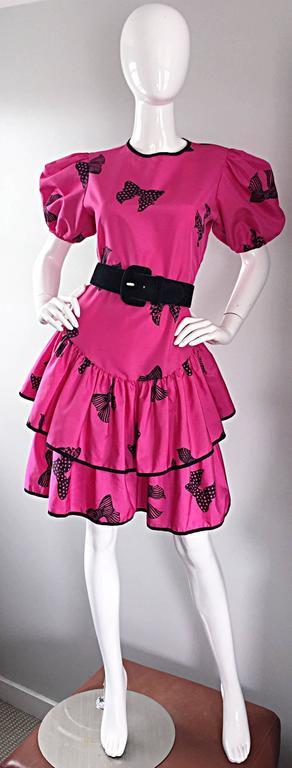 Rare 80s Betsey Johnson Punk Label Hot Pink + Black Bow Print Novelty Dress For Sale 6