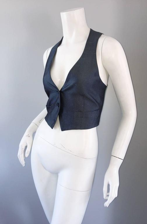 Romeo Gigli Vintage 1990s Blue Grey Silk 90s Fitted Cropped Waistcoat Vest 7