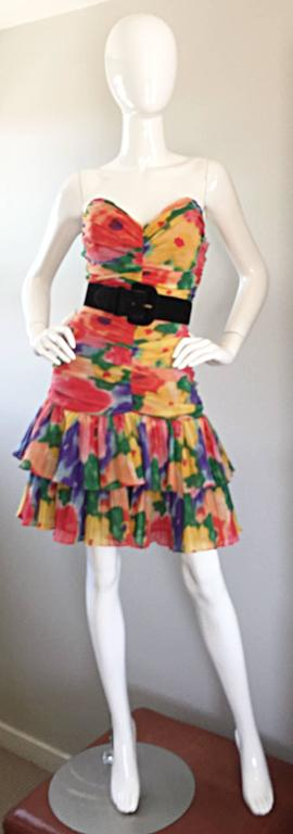 Amazing Vintage 1980s Watercolor Flower Print Strapless Ruched Tiered Dress 3