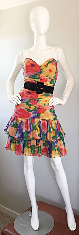 Amazing Vintage 1980s Watercolor Flower Print Strapless Ruched Tiered Dress 8