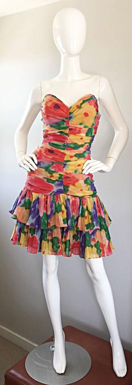 Amazing Vintage 1980s Watercolor Flower Print Strapless Ruched Tiered Dress 2