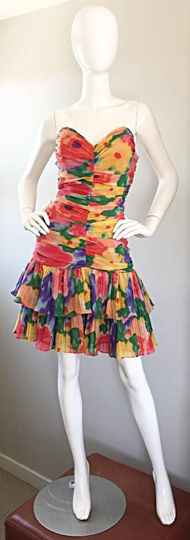 Amazing Vintage 1980s Watercolor Flower Print Strapless Ruched Tiered Dress 10