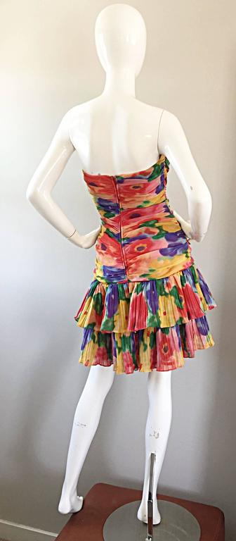 Amazing Vintage 1980s Watercolor Flower Print Strapless Ruched Tiered Dress 5