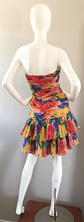 Amazing Vintage 1980s Watercolor Flower Print Strapless Ruched Tiered Dress 9