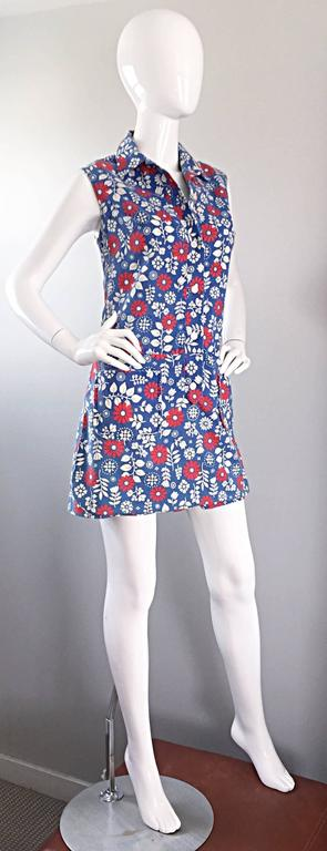 Rare 1960s Abercrombie & Fitch Romper Jumpsuit with Skort Red White & Blue 3